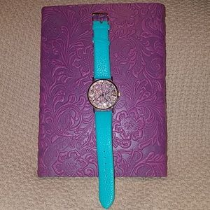 Accessories - Teal with glitter face watch